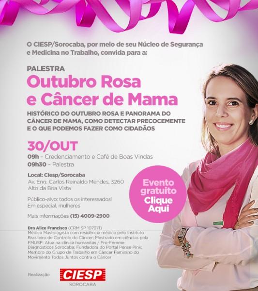 Outubro Rosa: Ciesp Sorocaba promove palestra sobre câncer de mama no dia 30 de outubro