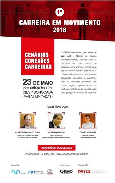 Ciesp Sorocaba promove o 1º Carreira em Movimento 2018 nesta quarta-feira (23/05)