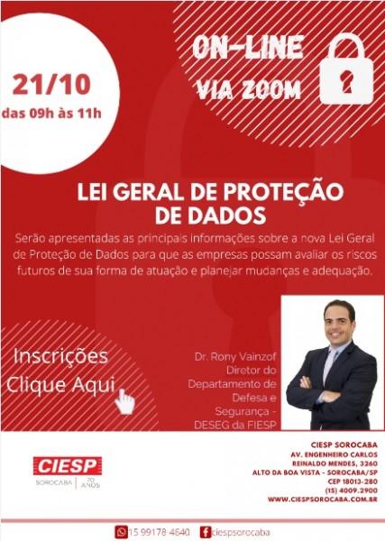 CIESP SOROCABA REALIZA PALESTRA ONLINE SOBRE LEI GERAL DE PROTEÇÃO DE DADOS (LGPD)